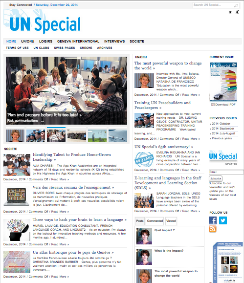 Our article was also on the homepage of the UN Special!